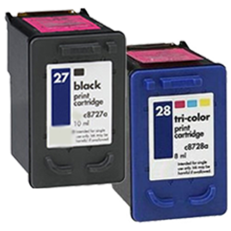 Zoomtoner Compatible HP DeskJet 3745V HP C8727A / C8728A (27 / 28) INK / INKJET Cartridge Combo Pack Black Tri-Color - image 1 of 1