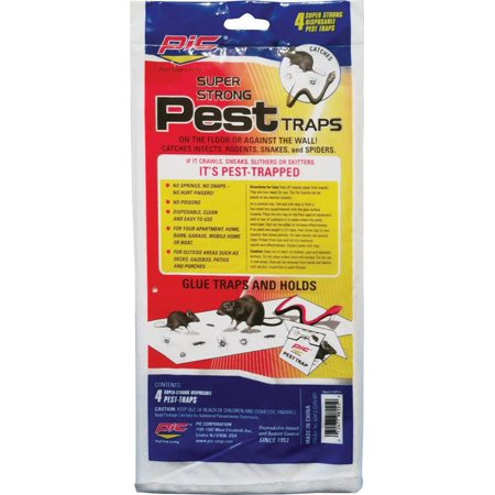 Pic Gpt-4 Glue Pest Trap for Spiders and Snakes, 4 Pack