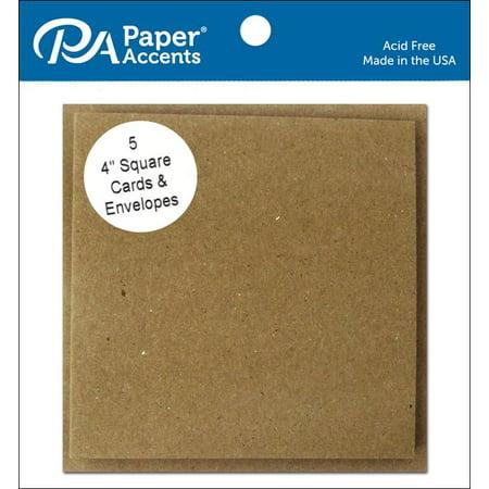 Card & Envelope 4x4 5pc Brown Bag