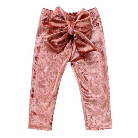 Baby Toddler Princess Girl Velvet Bowknot Soft Leggings Pants (Peach, 90/1-2 - Princess Jasmine Leggings