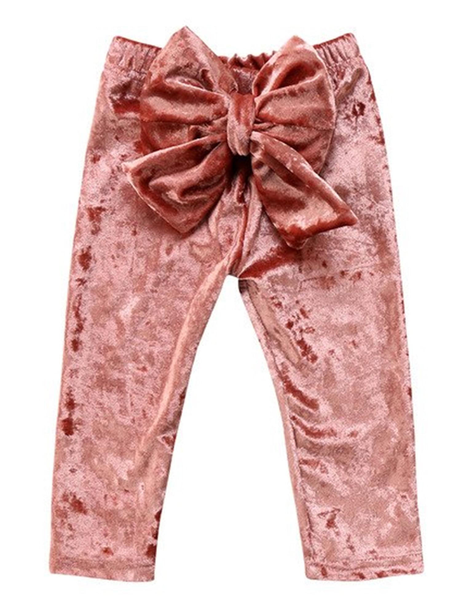 Baby Toddler Princess Girl Velvet Bowknot Soft Leggings Pants (Peach, 90/1-2 Years)