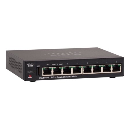 Cisco SG250-08 8-Port Gigabit Managed Smart Switch - Rack