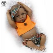 """Luxtrada 11"""" Lifelike Black African Newborn Baby Boy Full Body Silicone Boy Dolls for Toddler Gifts"""
