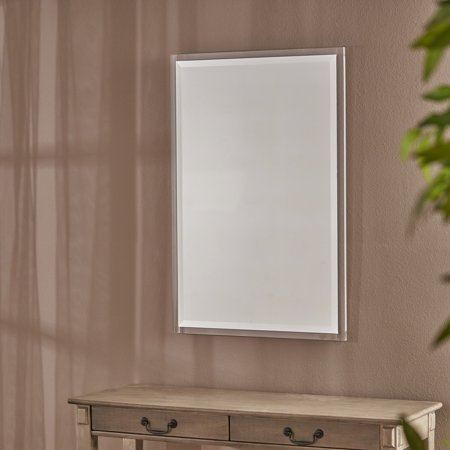 Noble House Rectangular Wall Mirror with Acrylic Frame,Clear Adjustable Louver Acrylic Mirror