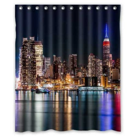 DEYOU USA Skyscrapers Hou Rivers New York City Night Cities Shower Curtain Polyester Fabric Bathroom