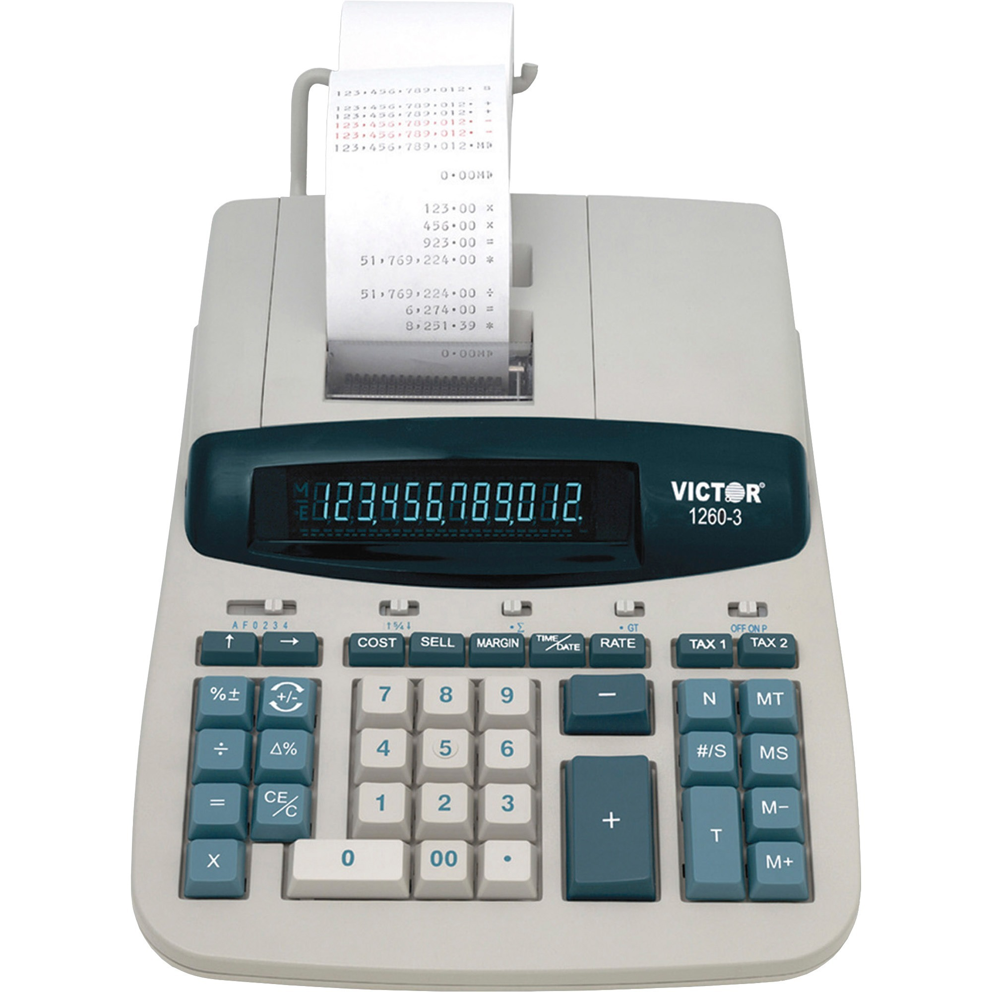Victor, VCT12603, 12603 Commercial Calculator, 1 Each, White,Gray