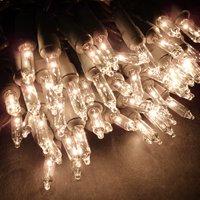 100 Clear Mini Lights - Brown Cord - Christmas Lights