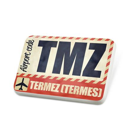 Porcelein Pin Airportcode Tmz Termez  Termes  Lapel Badge   Neonblond