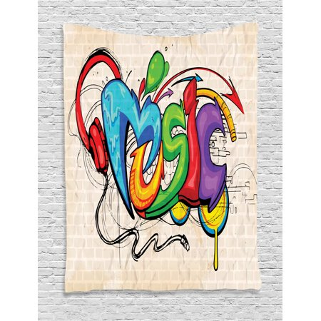 Music Tapestry, Illustration of Graffiti Style Lettering Headphones Hip Hop Theme on Beige Bricks, Wall Hanging for Bedroom Living Room Dorm Decor, Multicolor, by