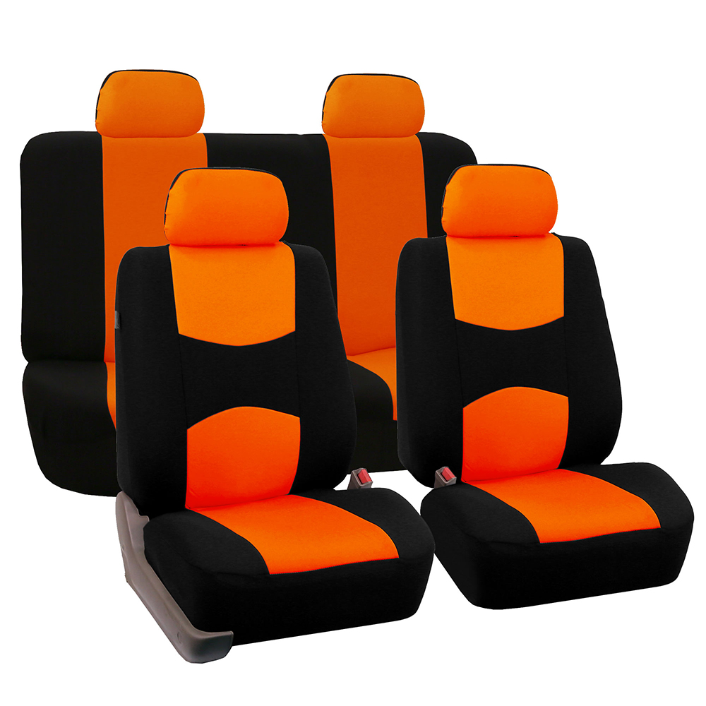 FH Group Universal Flat Cloth Fabric Full Set Car Seat Cover, Orange and Black
