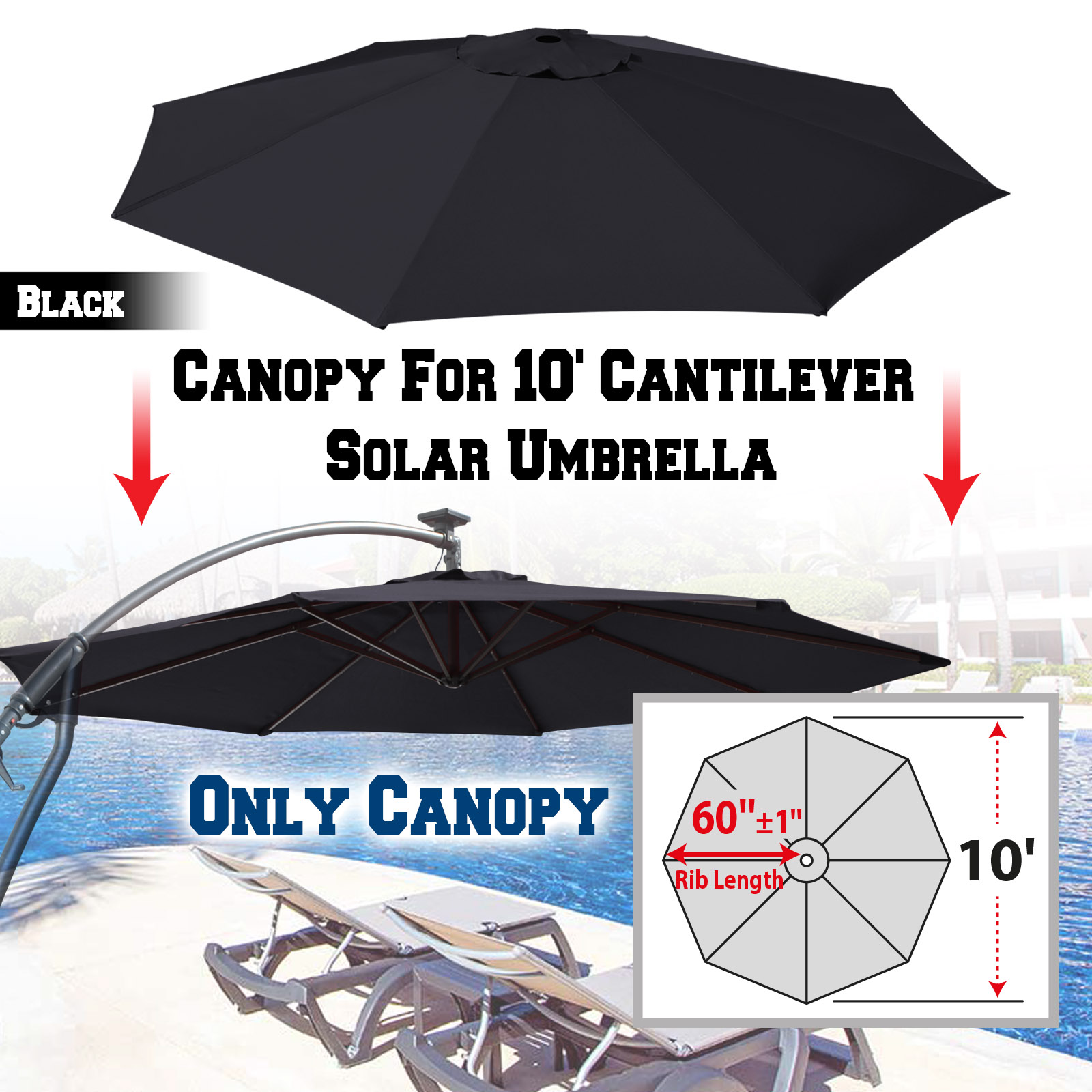 Strong Camel Replacement Canopy Cover for 10u0027 Cantilever Patio Umbrella Offest Parasol Top Cover (Black)  sc 1 st  Walmart & Strong Camel Replacement Canopy Cover for 10u0027 Cantilever Patio ...