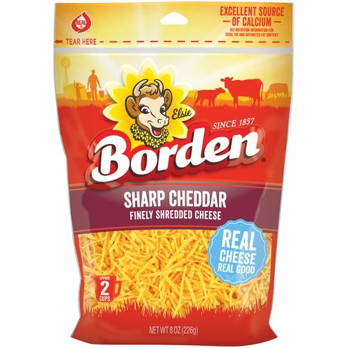 Borden Natural Finely Shredded Sharp Cheddar Cheese, 8 oz