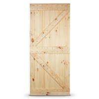 "BELLEZE 36"" in x 84"" in Heavy Duty Sturdy Natural Wood Pine Unfinished Sliding Barn Single Door Only"