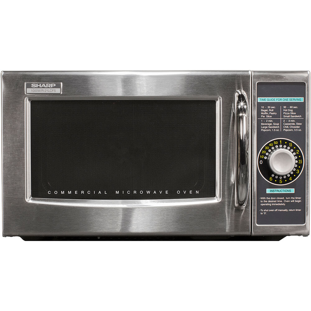 """Sharp R-21LCFS 21"""" Wide 1 Cu. Ft. 1000 Watt Commercial Countertop Microwave with"""
