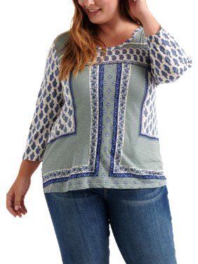 Lucky Brand Womens Plus Printed Long Sleeve Blouse Blue 1X