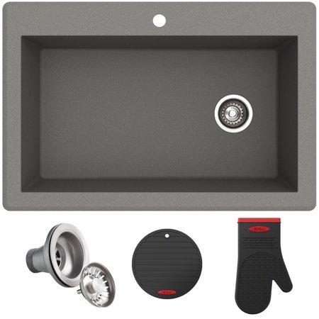 """KRAUS Forteza™ 33"""" Dual Mount Single Bowl Granite Kitchen Sink in Grey"""