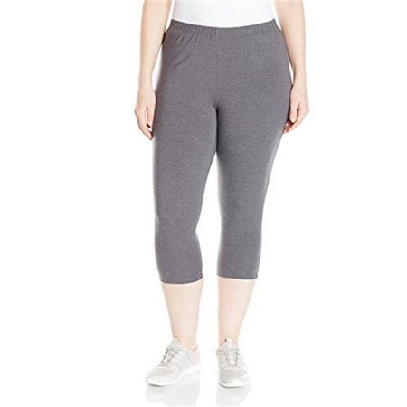 90563242023 Womens Plus-Size Stretch Jersey Capri Legging - Charcoal Heather, 1X