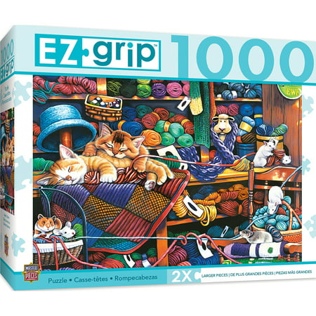 1000pc EZGrip Knittin Kittens Large 1000 Piece Jigsaw Puzzle by Jenny Newland (1000 Piece Large Puzzle)