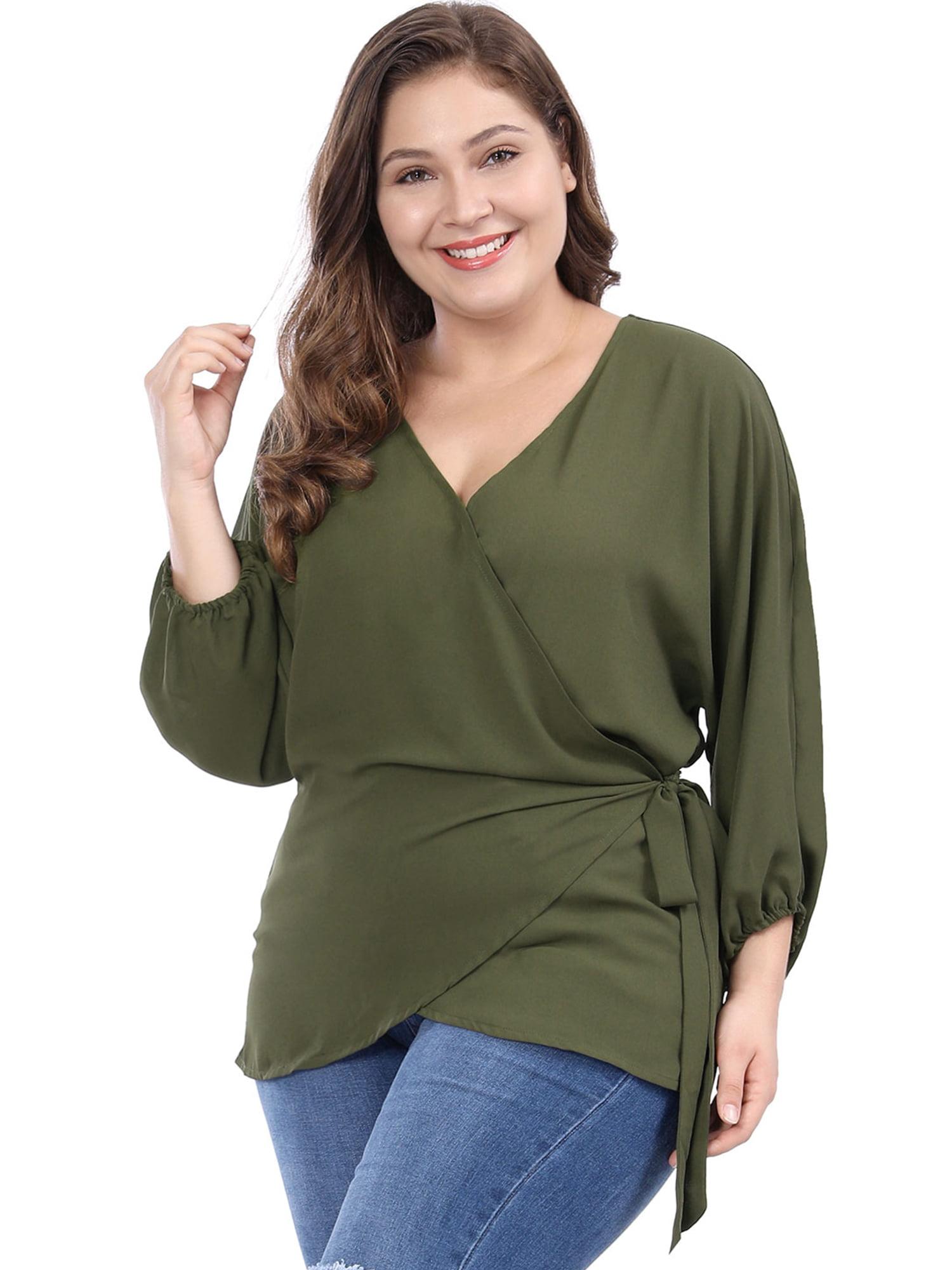 a6e6ce68b59846 Unique Bargains - Women's Plus Size V-neck Batwing Sleeves Self Tie Wrap  Chiffon Top Blouse Shirt Black 2X - Walmart.com