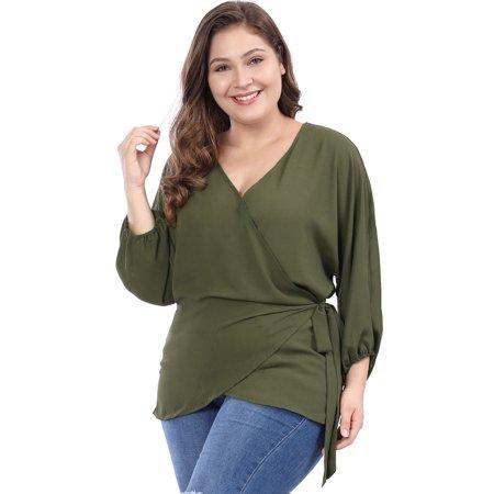 5a5a7df707f845 Unique Bargains - Women's Plus Size V-neck Batwing Sleeves Self Tie Wrap  Chiffon Top Blouse Shirt - Walmart.com