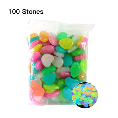 100pcs/Bag Luminous Pebbles Glow in the Dark Stones Home Fish Tank Outdoor Decor Garden Walkway ()