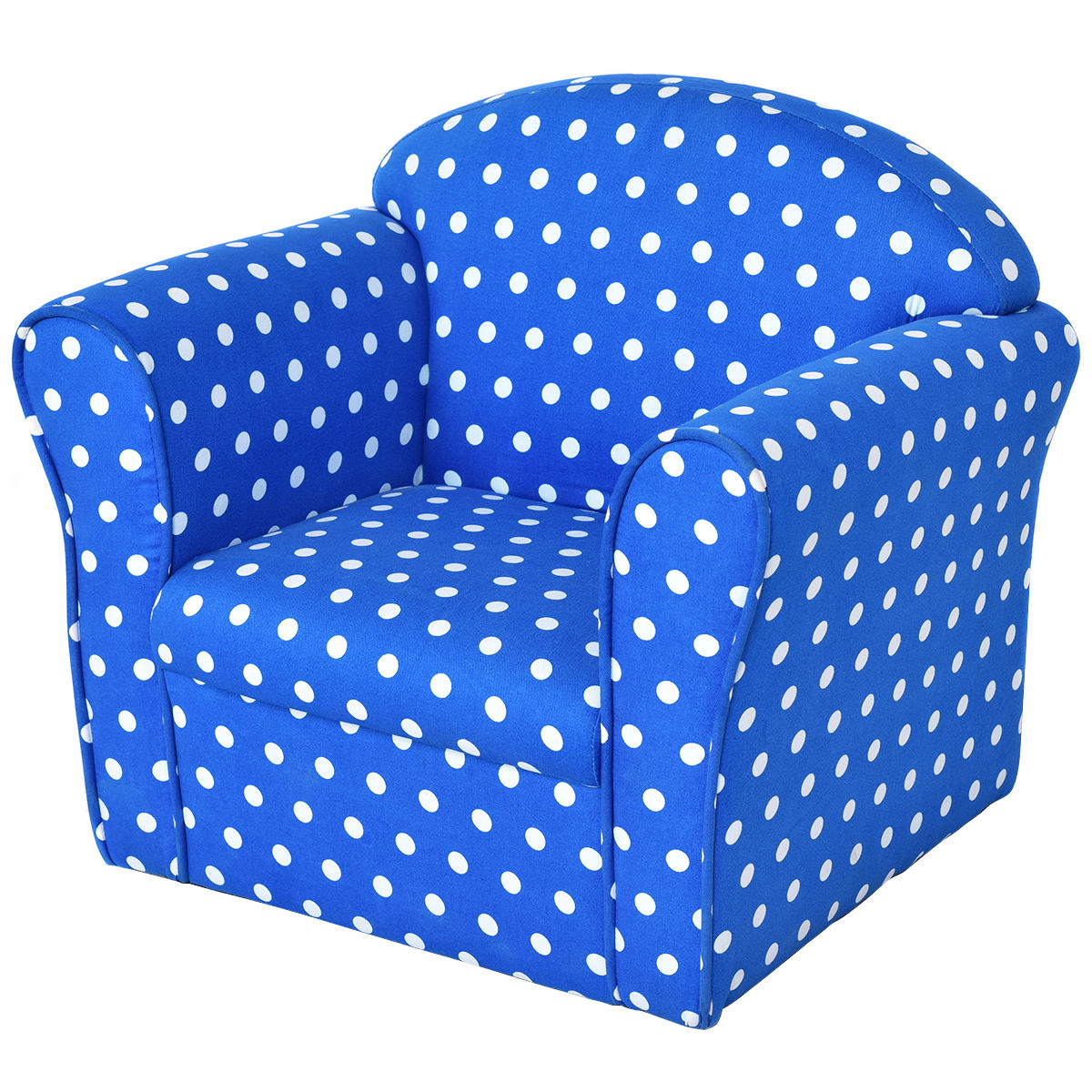 Costway Blue W/Dots Kid Sofa Armrest Chair Couch Children Living Room  Toddler Furniture