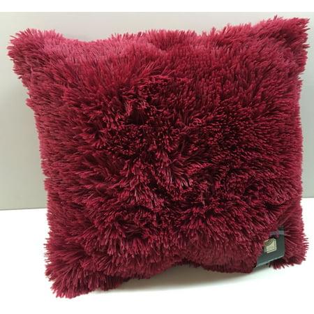 Set of 2 Large Shaggy Fur Toss Throw Pillows, Burgundy, 20
