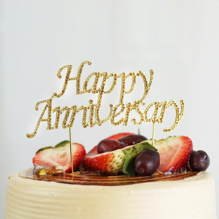 Efavormart 6 5 Gold Happy Anniversary Cake Topper With Rhinestones