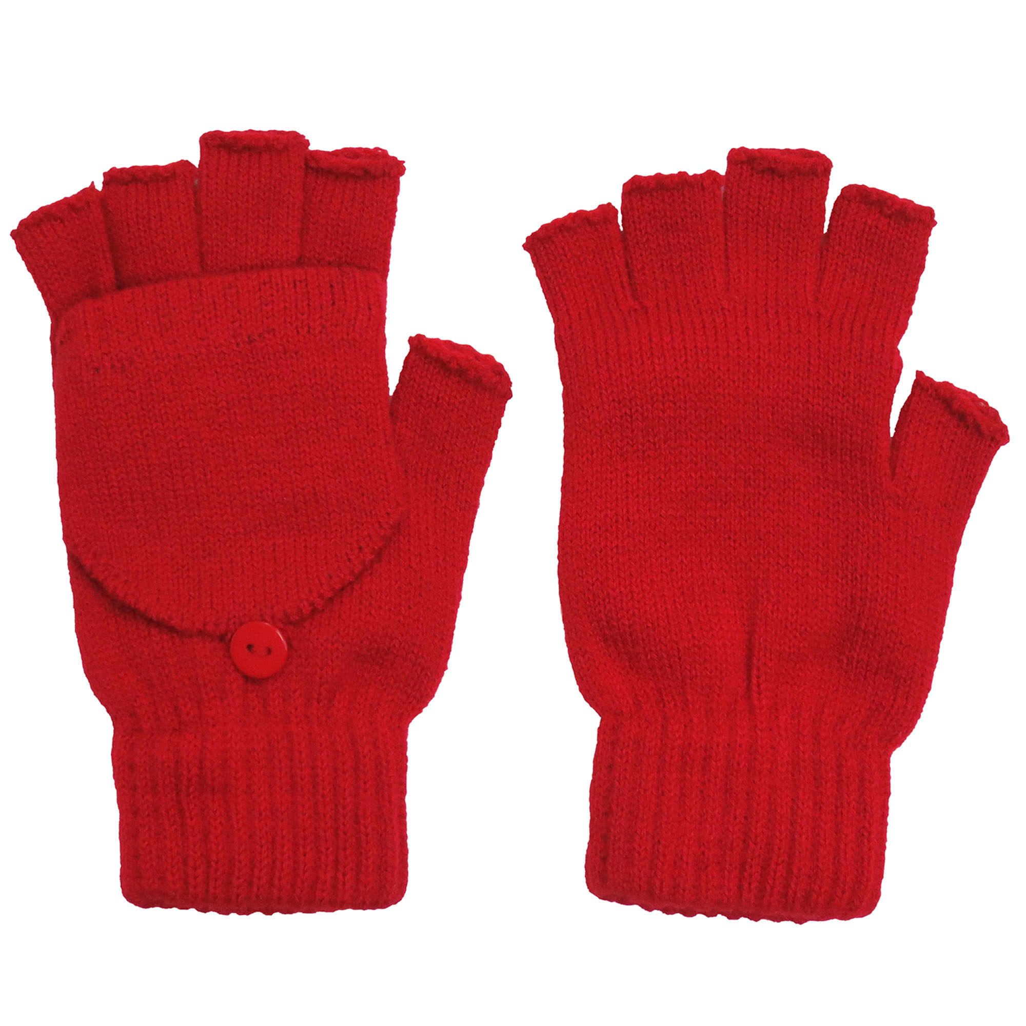 Winter Fingerless Gloves with Flap Cover Mitten Gloves, 56_Red