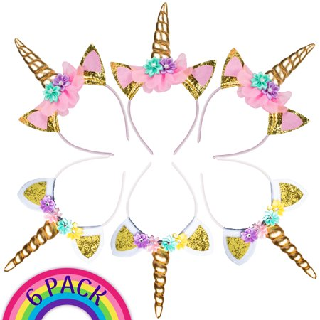 6pk Unicorn Headbands Party Supplies for Kids and Adults - Diy Unicorn Horn Headband