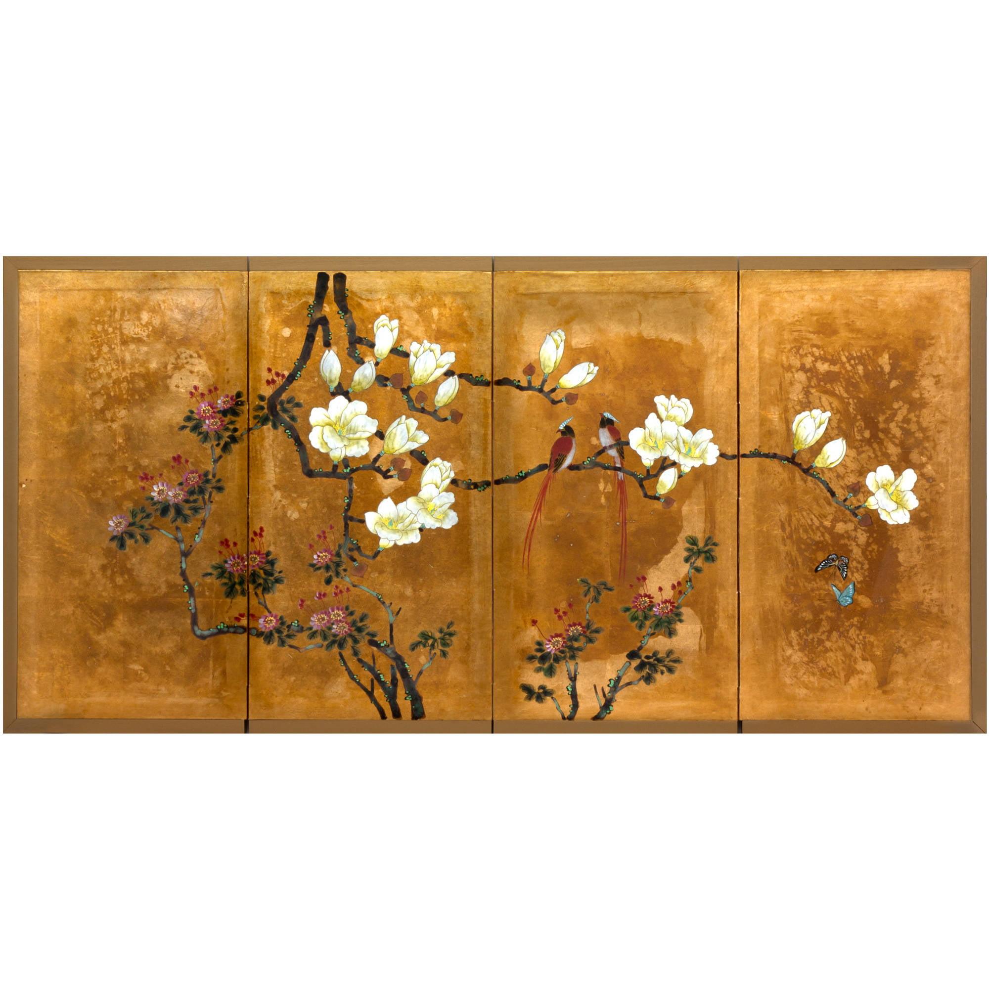 Oriental Furniture Love Birds On Traditional Gold Leaf