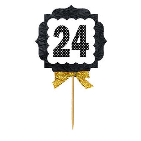 24th Birthday / Anniversary Gold Ribbon Hand Crafted Novelty Cupcake Decoration Toppers / Picks -12ct