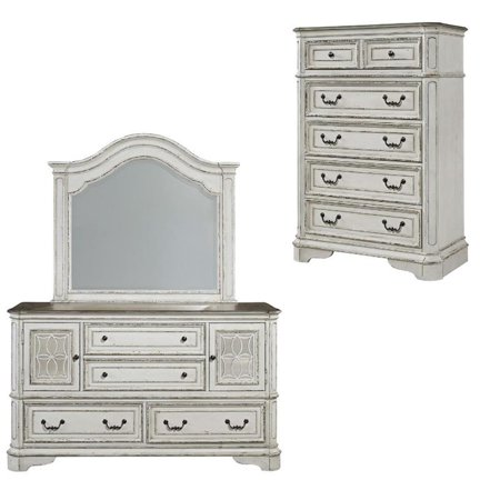 3 Piece Rustic Farmhouse Set with Mirrored Dresser and Chest ()