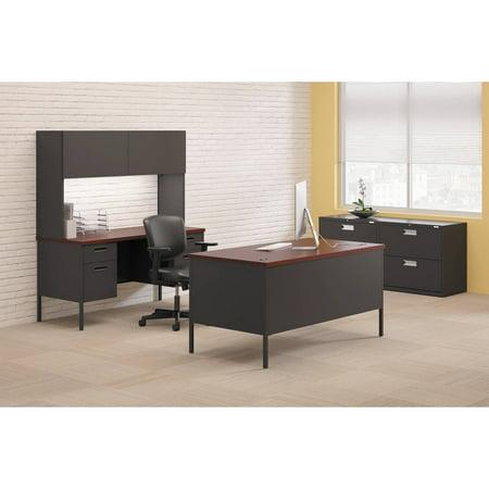 Hon Company Oak Desk - HON Metro Classic Double Pedestal Desk, 60w x 30d x 29 1/2h, Mahogany/Charcoal