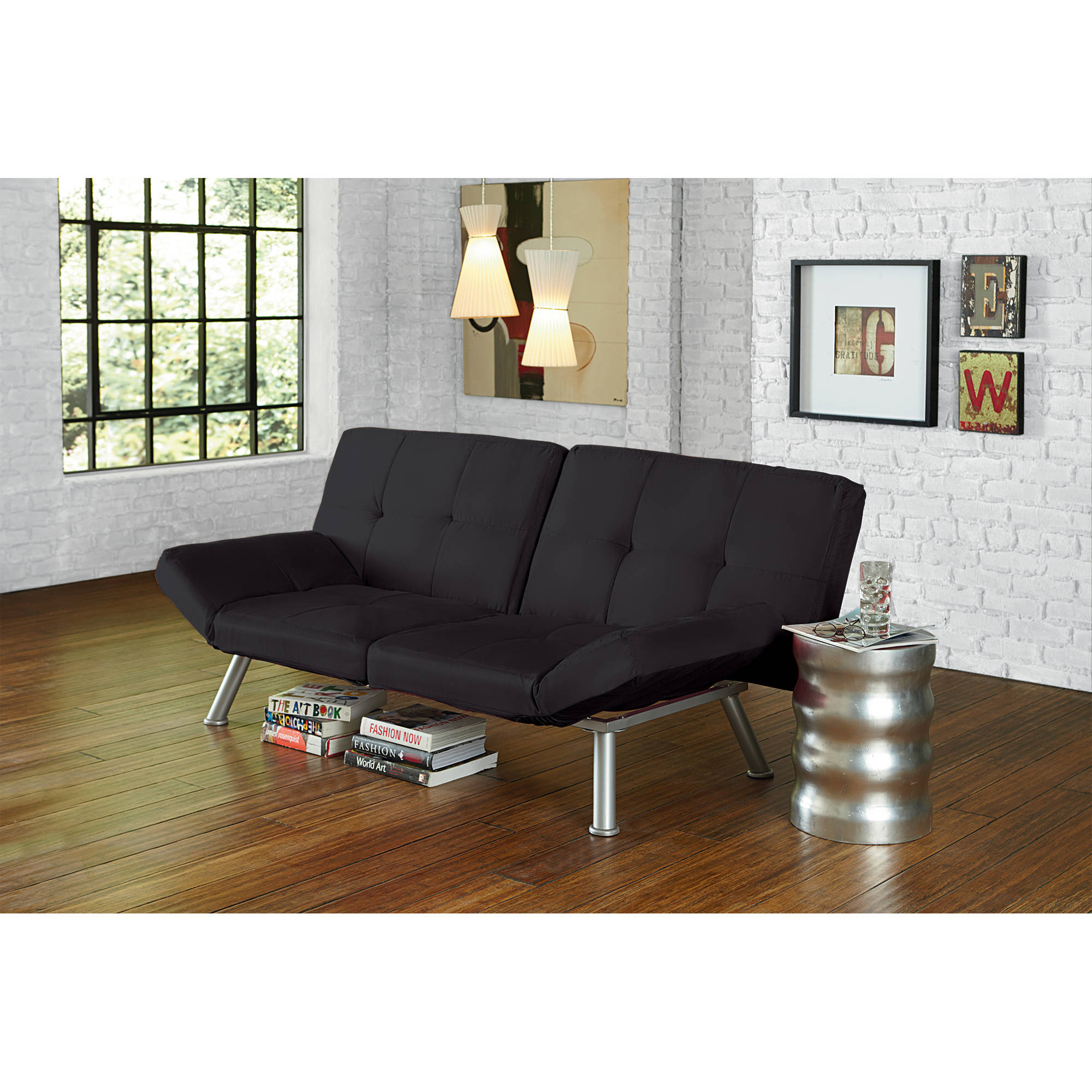 Futon Sofa Couch Tufted Black Finish Bed Contemporary Home Lounge Furniture New