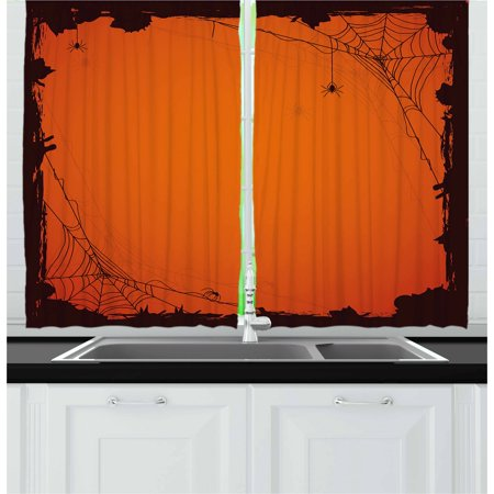Scary Halloween Window Panels (Spider Web Curtains 2 Panels Set, Grunge Halloween Composition Scary Framework with Insects Abstract Cobweb, Window Drapes for Living Room Bedroom, 55W X 39L Inches, Orange Brown, by)