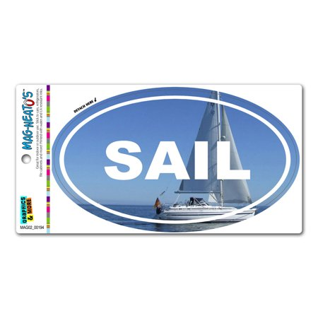 Sail Boat Sailing Ocean - Euro Oval MAG-NEATO'S(TM) Car/Refrigerator