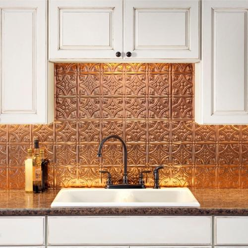 Fasade  Traditional Style #1 Polished Copper Backsplash 18-inch x 24-inch Panel