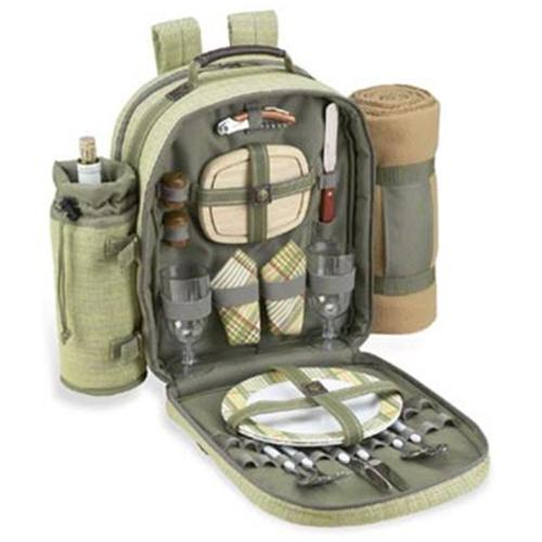 Picnic at Ascot 080X-H Hamptons Backpack For 2 With Blanket- Olive-Tweed And Tan Blanket