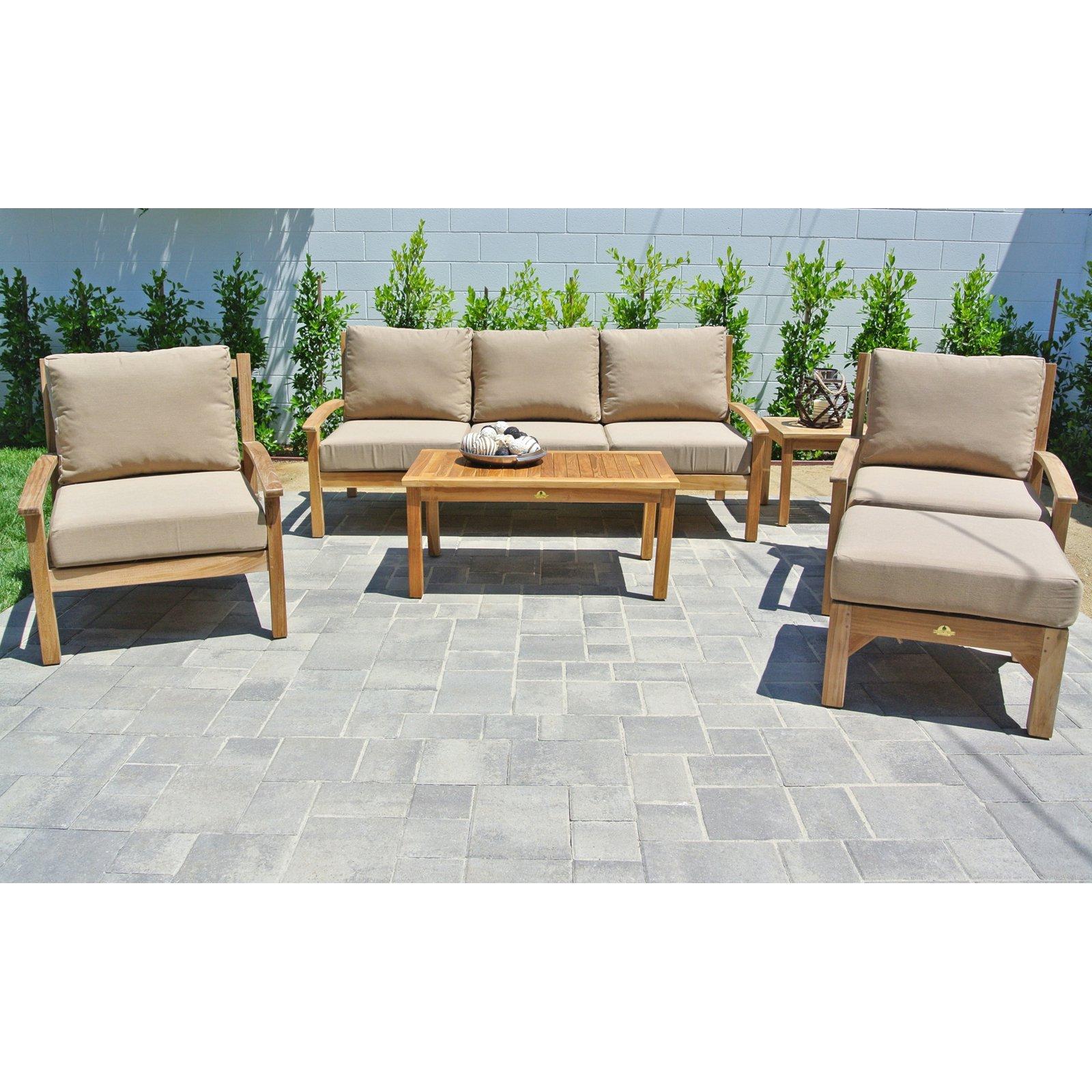Willow Creek Designs Huntington Teak 6 Piece Deep Seating Patio Set