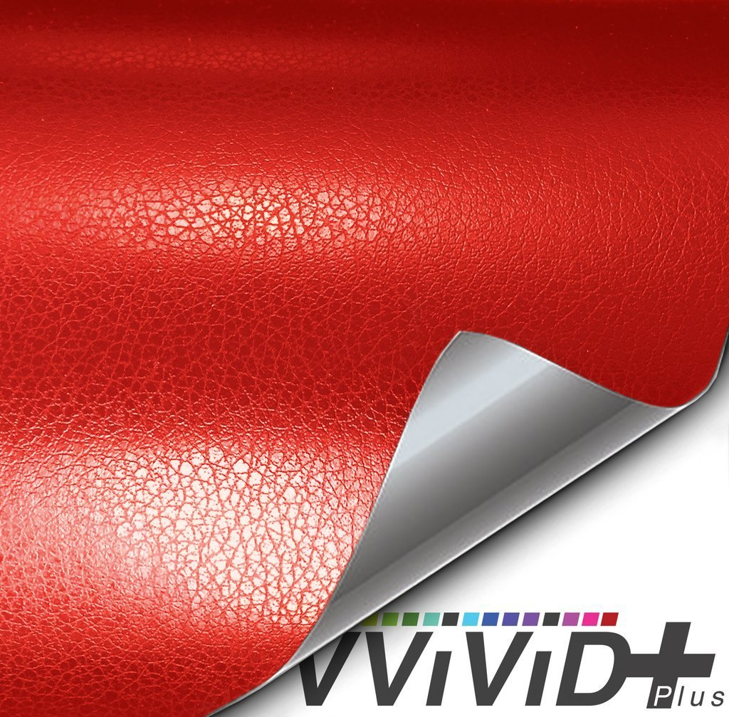 Red Fine Grain Leather Vinyl Wrap Soft Touch Architectural Vinyl - Choose Your Size VViViD+