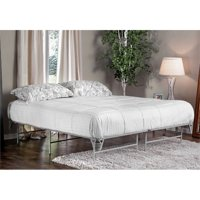 Furniture of America Polosa Contemporary Metal King Bed Frame in Silver