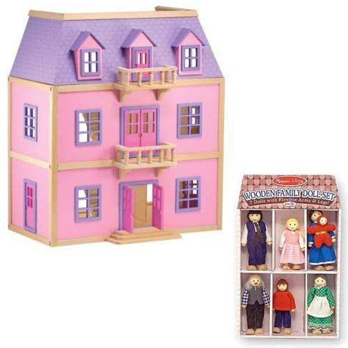 Melissa and Doug Multi-Level Solid Wood Dollhouse w/ Fami...