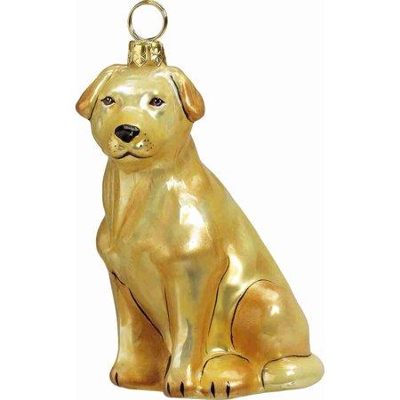 Sitting Yellow Labrador Retriever Polish Glass Christmas Ornament Decoration New