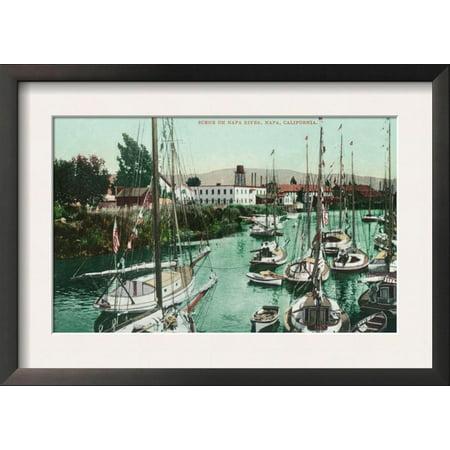 Sailboats on Napa River Scene - Napa, CA Framed Art Print Wall Art  - 18.5x13](Halloween City Napa Ca)