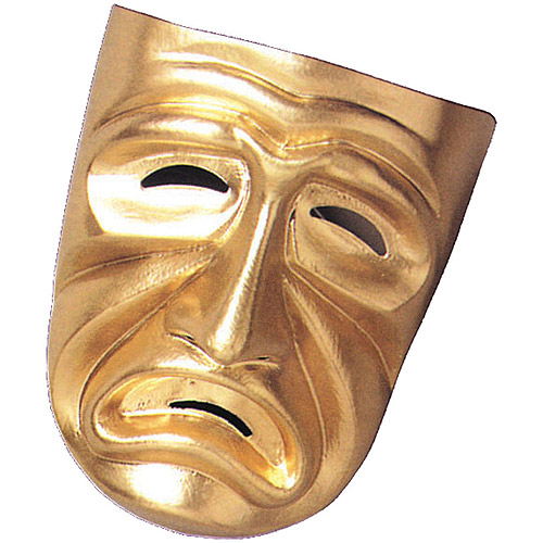 Gold Tragedy Mask Adult Halloween Accessory