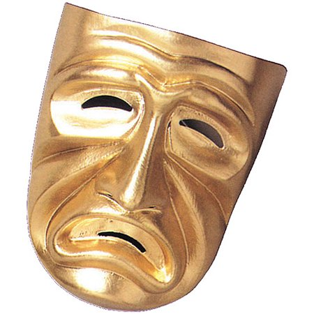 Gold Tragedy Mask Adult Halloween Accessory (Comedy Tragedy Halloween Masks)