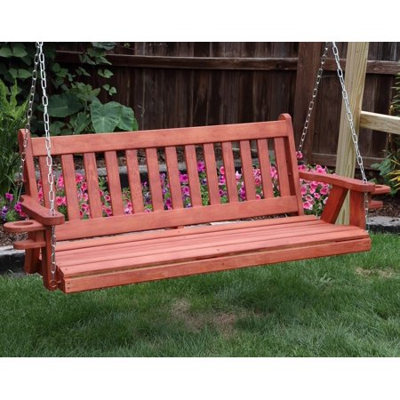 Outdoor Garden Patio 4 Ft Rustic Red Finish Quick Ship-Amish Heavy Duty 800 Lb Mission Porch Cupholders Swing With Hanging Chain