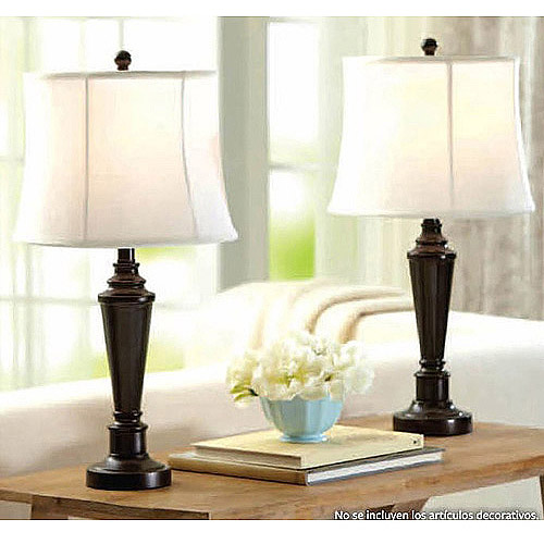 Better Homes and Gardens Transitional Lamp, Dark Bronze Finish, 2pk by