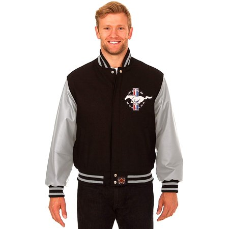 - JH Design Ford Mustang Men's Wool & Leather Varsity Jacket with Embroidered Applique Logos